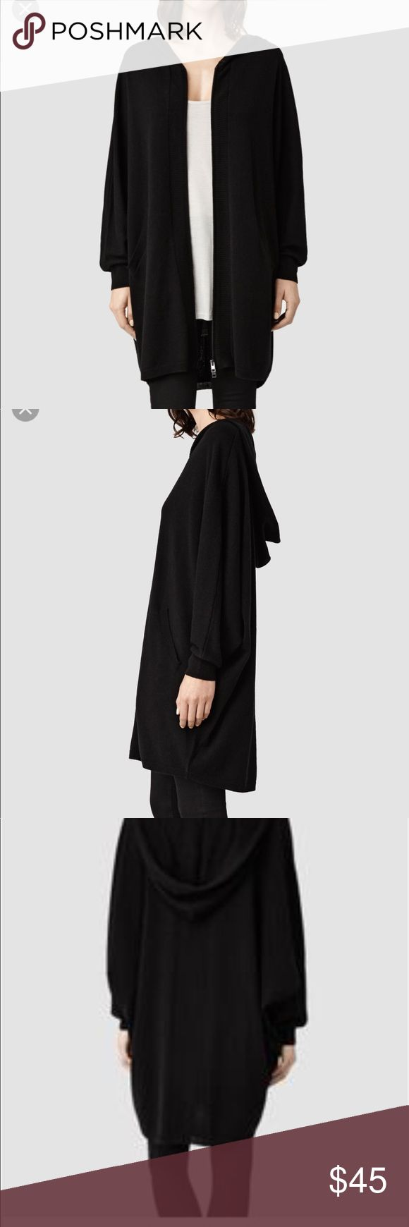 Allsaints Cambar knit hoody Black knit hoody. Double zipper up the front. Can zip from top or zip from bottom. Worn once. All Saints Sweaters