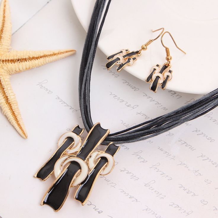 Women Jewelry Set Gold Plated Fashion Necklace Earring Black Multilayer Rope Chain Costume Woman Wedding Accessories