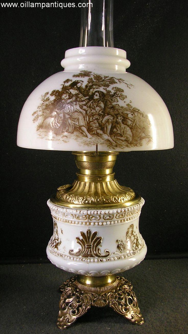 Antique Half Shade Parlour Oil Lamp Kerosene Lamp with monochrome stencil decoration | Oil Lamp Antiques