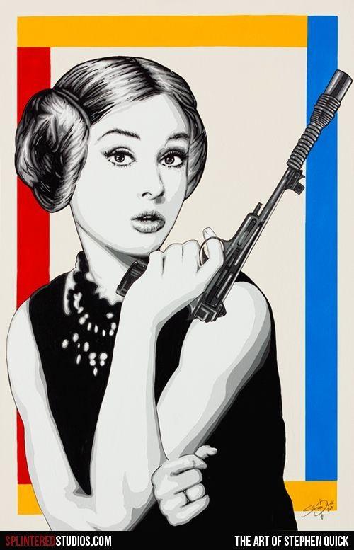 Star Wars: Leia Hepburn El mito del cine Audrey Hepburn ha servido de inspiración a los chicos de Splintered Studios, que han representado a la estrella de Hollywood como un look similar a la princesa Leia de Star Wars. Con pistola laser en mano,...