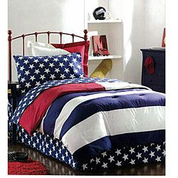 @Overstock - Decorate your room in style with a patriotic bed in a bagBedding set pattern showcases a modern take on an American classicIncludes comforter, bedskirt, two shams (one with twin) and sheet sethttp://www.overstock.com/Bedding-Bath/American-Flag-8-piece-Complete-Bed-in-a-Bag/4231652/product.html?CID=214117 MXN              751.00