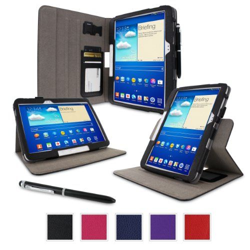rooCASE Samsung GALAXY Tab 3 10.1 GT-P5210 Dual-View Folio Case Cover - Black (with Pen Stylus)