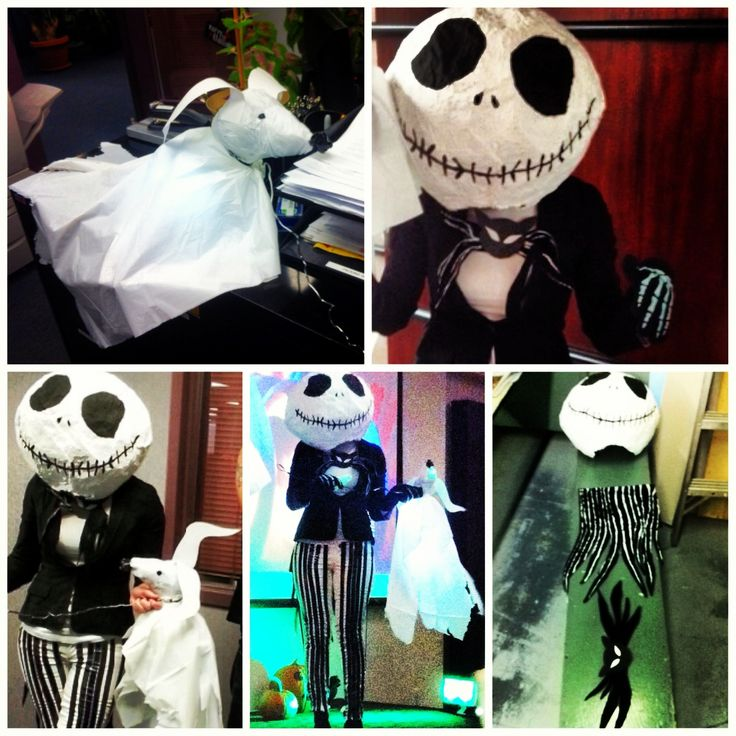 DIY My homemade Jack Skellington costume for a Halloween contest at work; papier mâché head, electrical taped pants, painted fabric tail and bowtie, dollar store skeleton gloves since I ran out of time :) and his ghost pup Zero prop made with aluminum wire, tissue paper & tablecloth, plain paper, electrical tape and led lights with battery pack to make him glow!