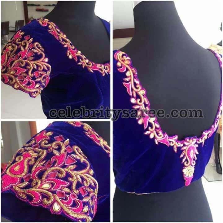 Velvet Blouse with Cut Work - Saree Blouse Patterns