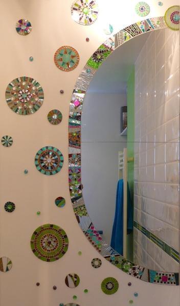 bulles de savon soap bubbles francoise mosaic mirror frame and circles on wall