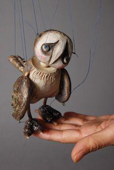 Owl figure marionette doll