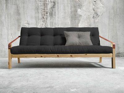 Canapé convertible en bois avec matelas futon et accoudoirs cuir POETRY
