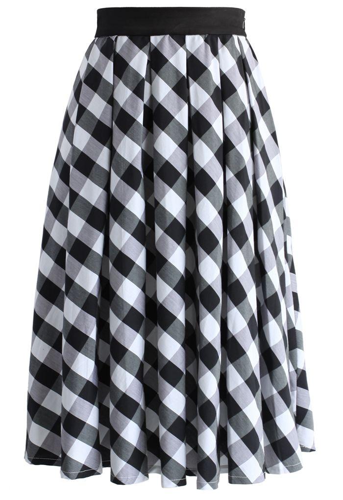 Retro Plaid Check Midi Skirt in Black - New Arrivals - Retro, Indie and Unique Fashion