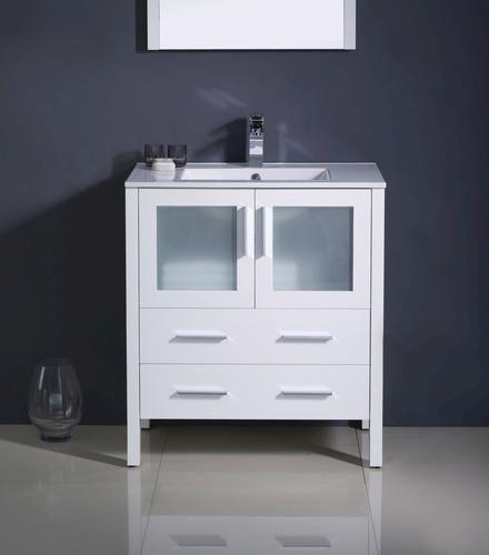 Gallery For Website Fresca Torino White Modern Bathroom Vanity Ensemble w Integrated Sink