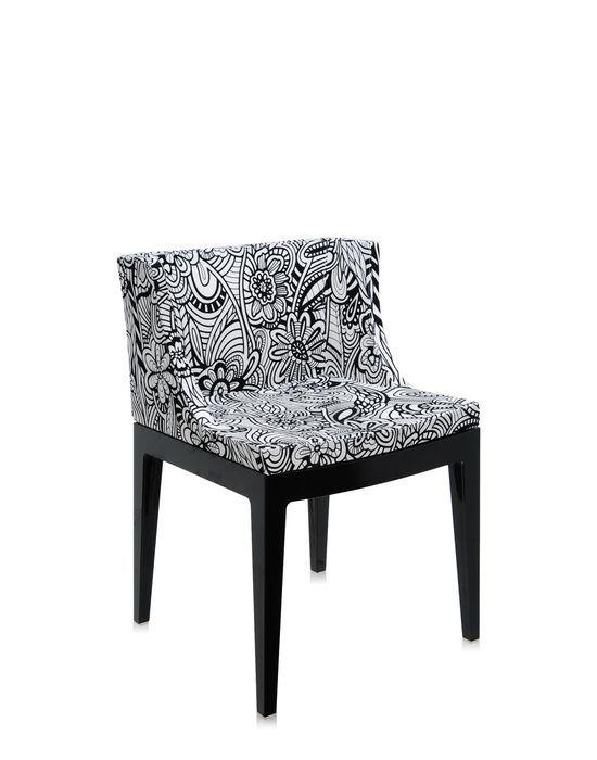"""poltroncina """"Mademoiselle"""" design by Philippe Starck for Kartell - struttura in policarbonato nero; seduta in tessuto """"Cartagena"""", un elegante graffito di fiori in bianco e nero scelto da Rosita Missoni (maison Missoni + Kartell)"""