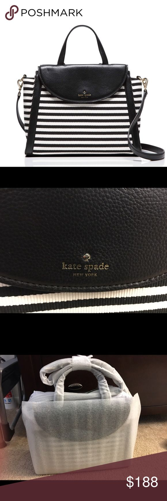 NWT Kate spade adrien style striped purse NWT in packaging, Kate spade brand adrien style purse, leather trim and cloth black and white stripes. No dust bag, Sizing info above, more photos in separate listing. No trades. kate spade Bags