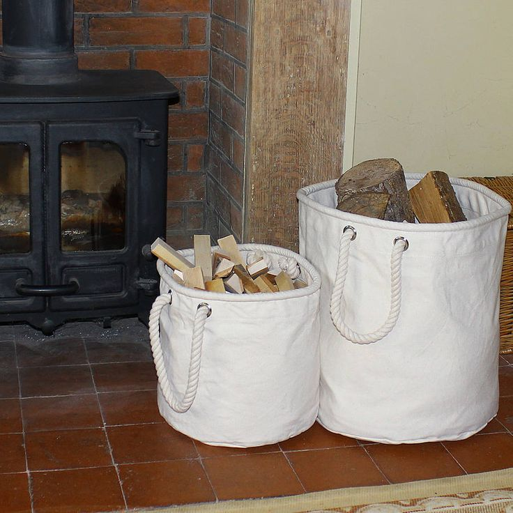 Natural Canvas Log And Kindling Basket from notonthehighstreet.com