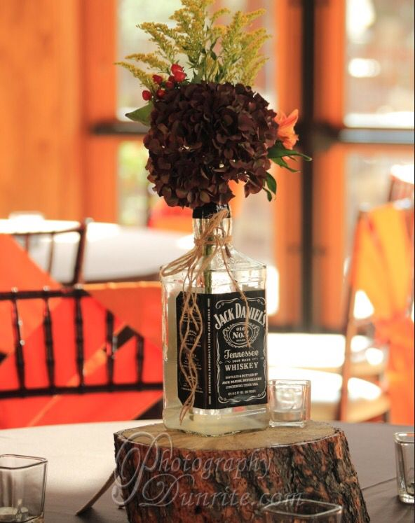 Jack Daniels wedding centerpiece