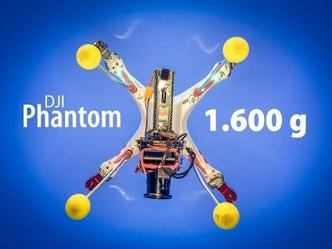 DJI Phantom Test » 1600g Abfluggewicht   11 Minuten Flugzeit - YouTube • Leichteres und längeres Landegestell aus Alurohren und Softbällen • 2x original DJI Lipo 3s 2200mAh • Sony RX100 Kompaktkamera (Hochformat montiert) • Carbon Propeller 10x4,5 mit selbstsichernden Muttern • 4x Extended Motor Mount  • 4x Emax MT2213 935kv • 2-Achsen-Gimbal (Carbon) • 5.8 GHz FPV von www.Globe-Flight.de • Mini FPV-Kamera von www.Globe-Flight.de • Lipo Beeper • (X1) Pitch Control Lever an der Fernsteuerung