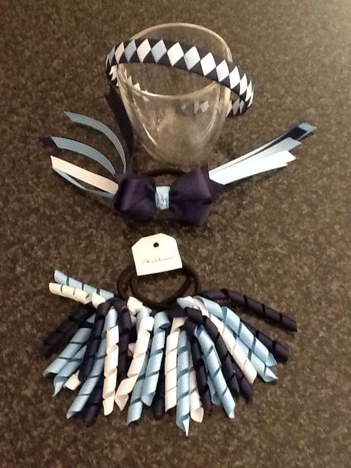 Madelienas Handmade Girls School Accessories - NAVY BLUE, WHITE, MIST BLUE - AU$18.00 a set