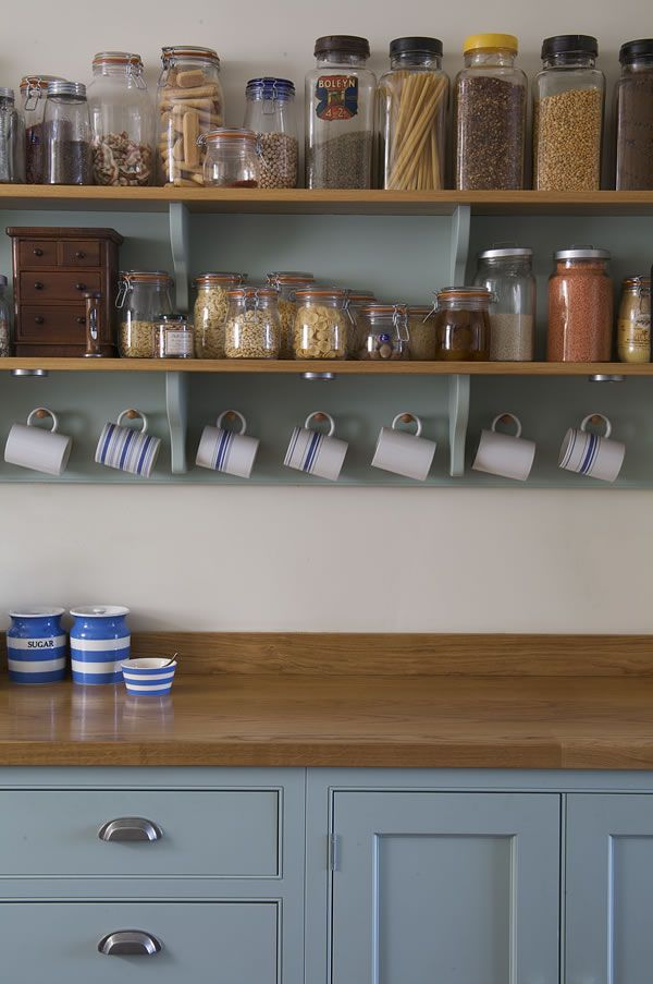 Kitchen open shelving in remodel by Landmark Kitchens UK - See: http://www.landmarkkitchens.co.uk/portfolio-chefs-special/ ~~  open shelves, cabinets with some color