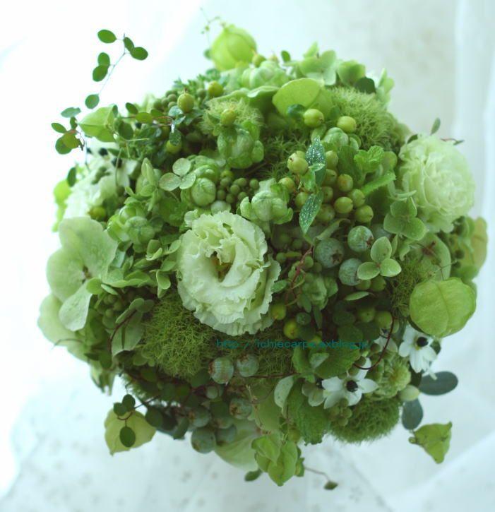 ブーケ 築地治作様へ 和装の扇ブーケと緑のブーケ : 一会 ウエディングの花