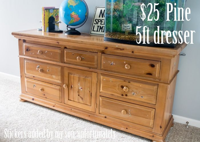 DIY Dresser Makeover - This old pine dresser was painted and transformed into a modern and updated dresser for the kid's room.