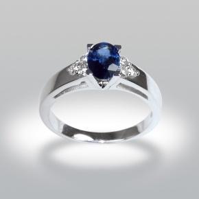 bague de fiancaille saphir, diamants, or blanc 18K