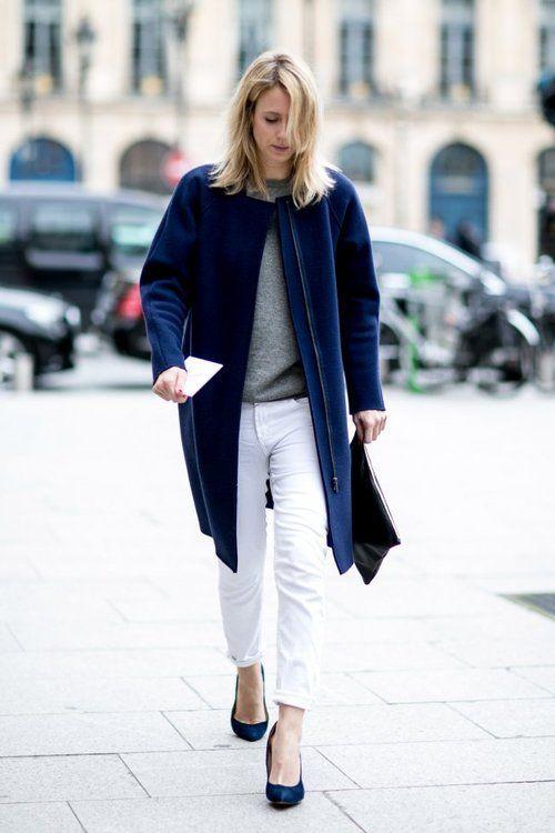 Navy coat + white jeans