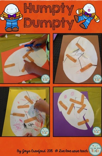 Whenever you bring out the band-aids you know there's fun involved!  A fun and simple craft to go along with learning the nursery rhyme Humpty Dumpty. http://liveloveserveteach.blogspot.com/ Nursery Rhymes | Humpty Dumpty | Preschool craft | Kindergarten craft | Toddler craft | band-aids