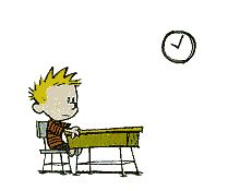 Calvin and Hobbes animated gif - this is cute!  Calvin is bored at school, see what he daydreams...