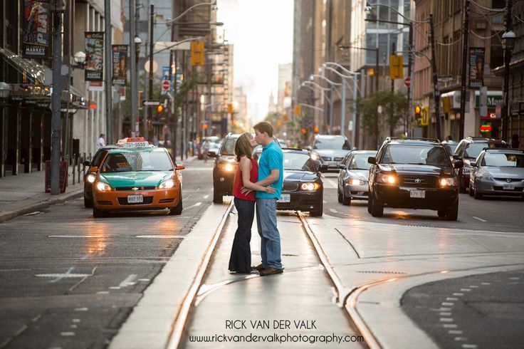 Fun Engagement Shoot, Downtown Toronto.  Stopping traffic.