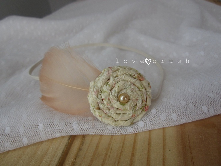 love the flower pattern in the flower itself - love crush has the best head pieces :)  Dainty Boho... shabby braided rosette cream peach floral feather skinny headband (newborn-adult) photo prop. $11.50, via Etsy.