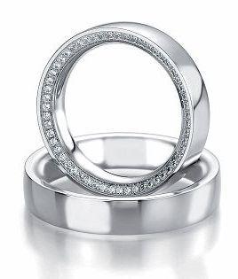 Trauringe Bad Harzburg  Weissgoldring, in 585   Damenring mit ca. 55 Diamanten, 0,303 kt, Farbe: w, Reinheit: si,  Ringbreite: 5,0 mm,  Stärke: 2,8 mm,