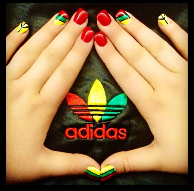 April 2014 nails; Rasta theme. Done by Jenna S, Details hair & nail in Regina, SK.