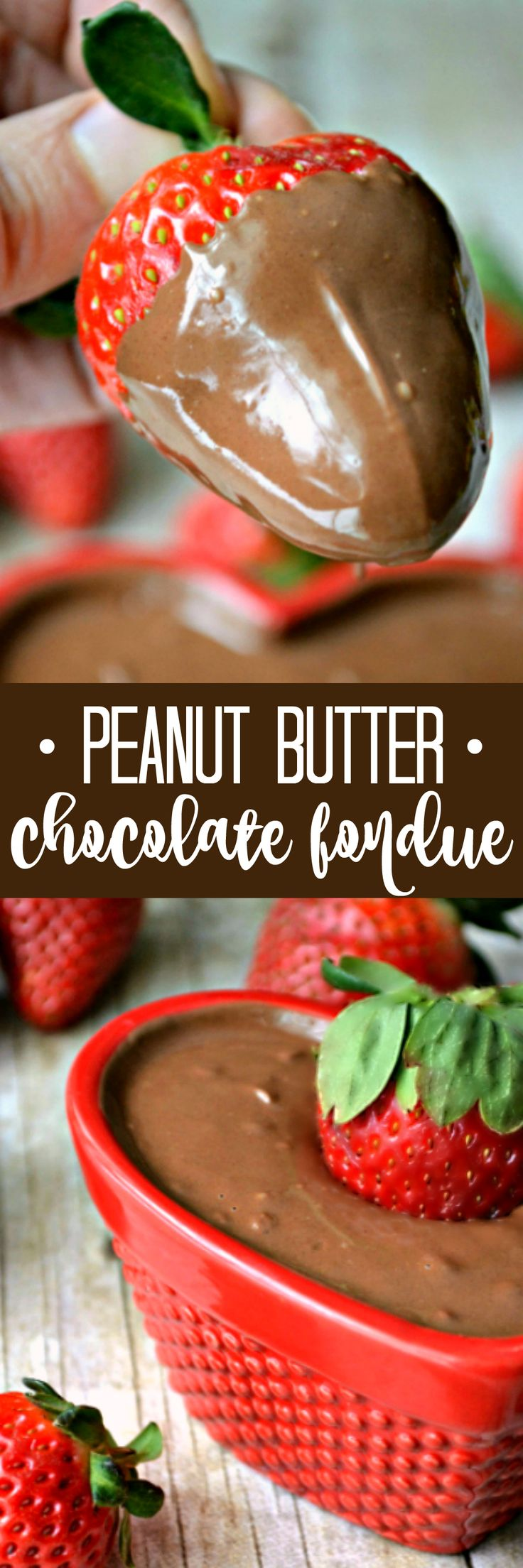 Reach, creamy Peanut Butter Chocolate Fondue...made with just 3 simple ingredients and ready in no time at all!
