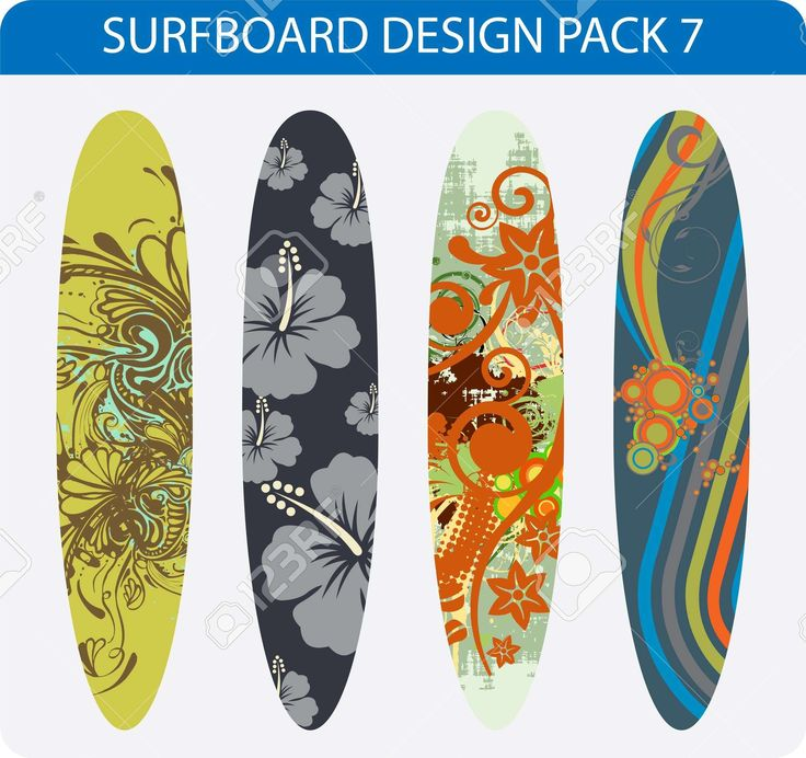 Vector Pack Of Four Colorful Surfboard Designs Royalty Free Cliparts, Vectors…