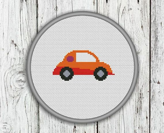 Orange And Red Car Counted Cross Stitch Pattern by CrossStitchShop