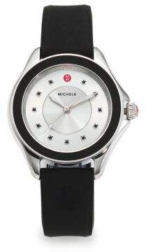 Michele Watches Cape Black Topaz Stainless Steel & Silicone Strap Watch/Black #watches #womens