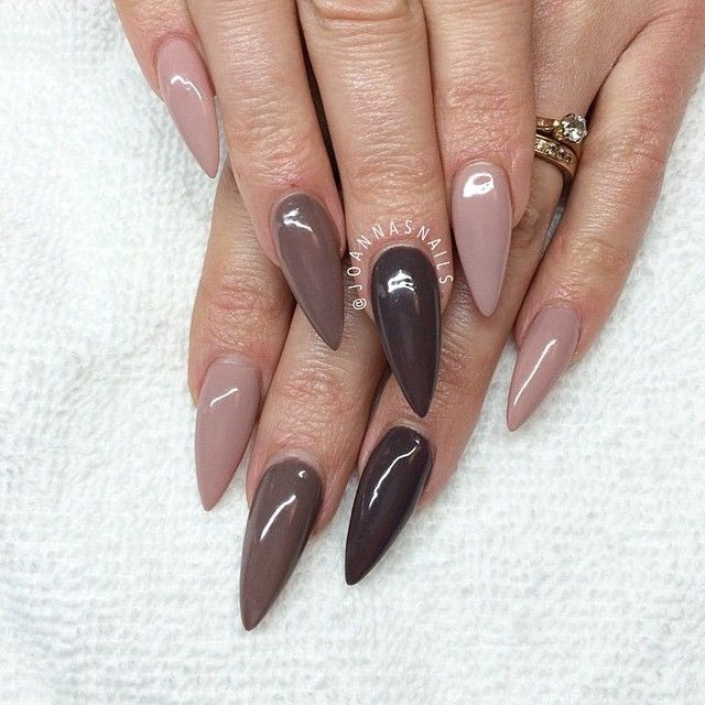 Shades of browns stiletto nails - 25+ Beautiful Natural Color Nails Ideas On Pinterest Natural
