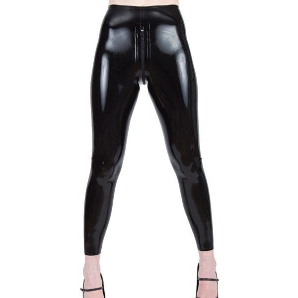 Collective Chaos Black Latex Leggings with zipper ❤ liked on Polyvore featuring pants, leggings, latex pants, zip leggings, zip pants, zipper leggings and legging pants