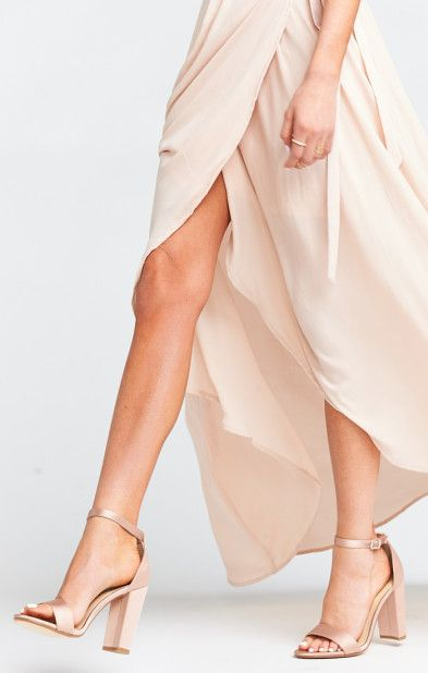 Blush Satin Chunky Heels  #shoes #heels #blush