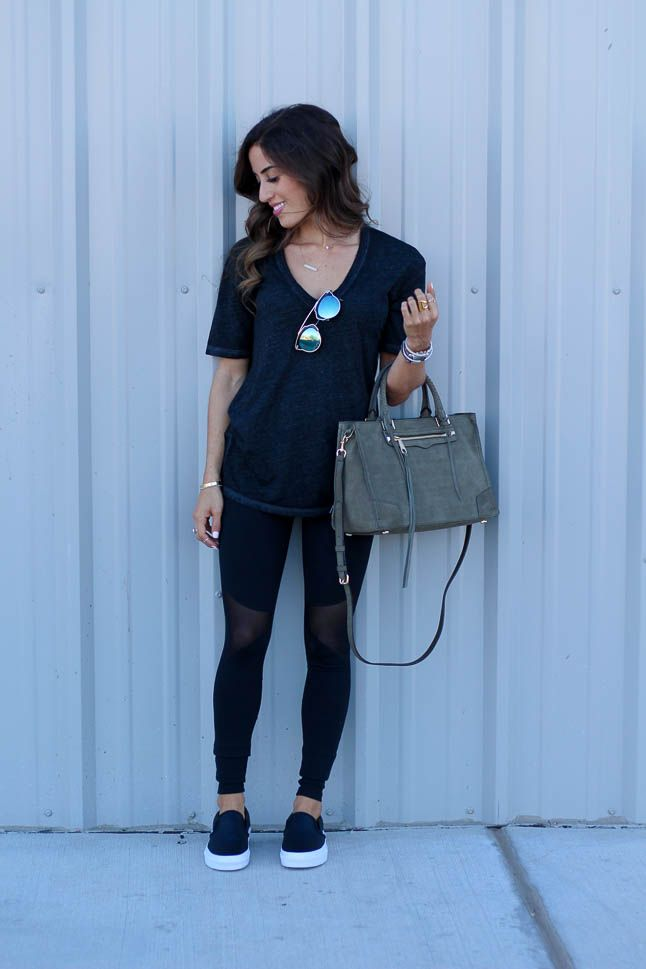 Cotton tee + mesh leggings +slide on shoes. everything you need to know about how to rock your athleisure look! | adoubledose.com