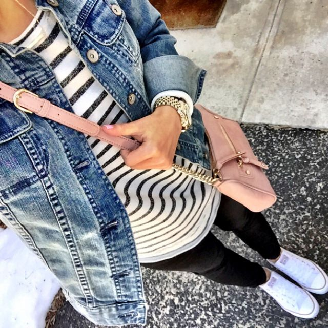 IG @mrscasual <click through to shop this look> mossimo denim jacket. Striped sweatshirt. J.Crew toothpick distressed skinny jeans. White converse all stars. Blush crossbbody bag.