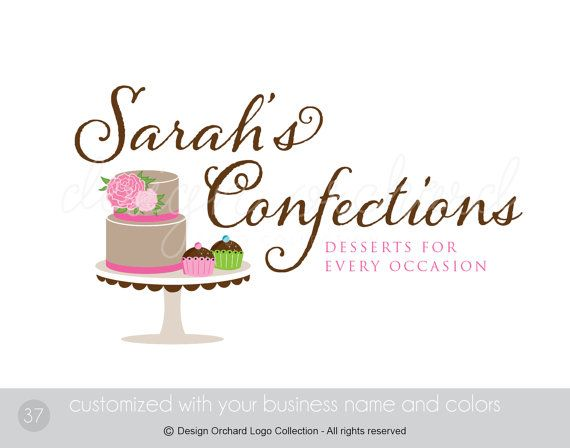Bakery Logo With Cake and Cupcake Illustrations by DesignOrchard, $45.00