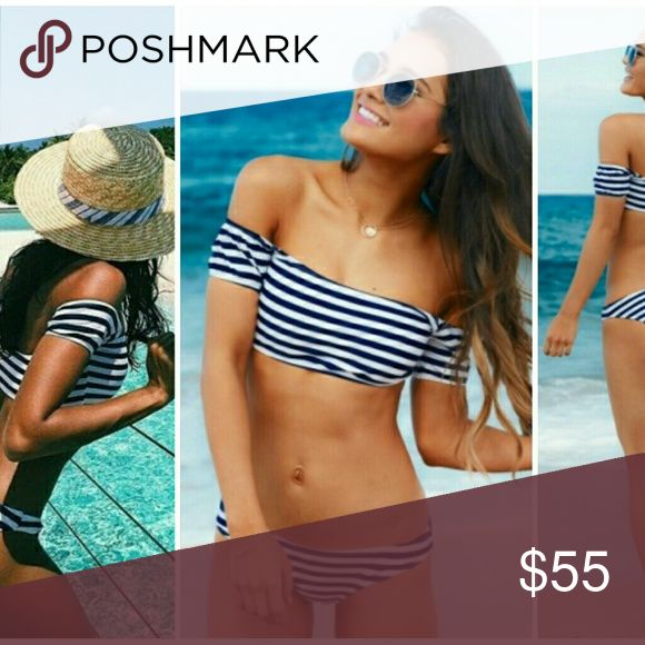 """[S   M] 👀 Crop Top Navy Bikini Set Bra is padded. Top and bottom stretches. Off the shoulder trending style.  Size Small = 2/4 Medium = 6/8  Bikini waist is 13"""" left to right  Cruise. Vacation. Travel. Spring. Summer. Breaux-Mode Swim Bikinis"""