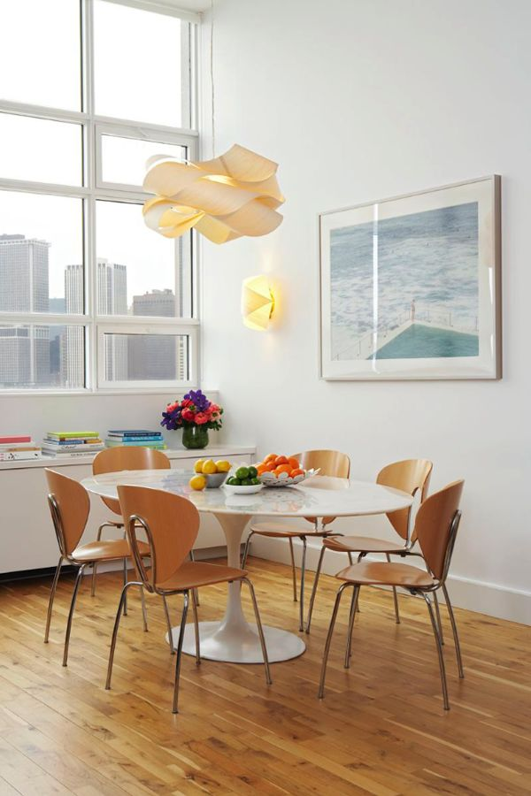 Brooklyn Loft Designed By Jennifer Eisenstadt Design Decoration Features A Link Pendant Lamp Marble Dining TablesRound