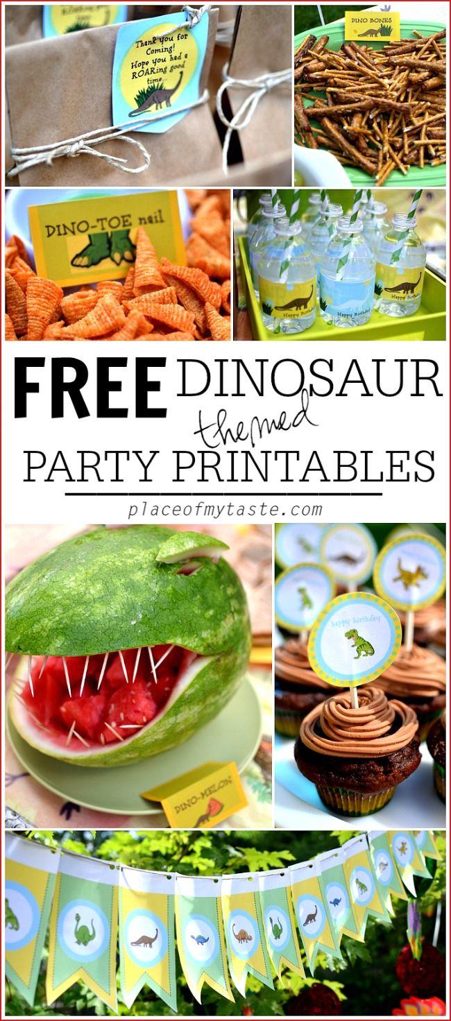 Vorlagen zum Ausdrucken für die näche Dino-Party >> Get your FREE Dinosaur themed party printables for your next DINOSAUR PARTY!!!