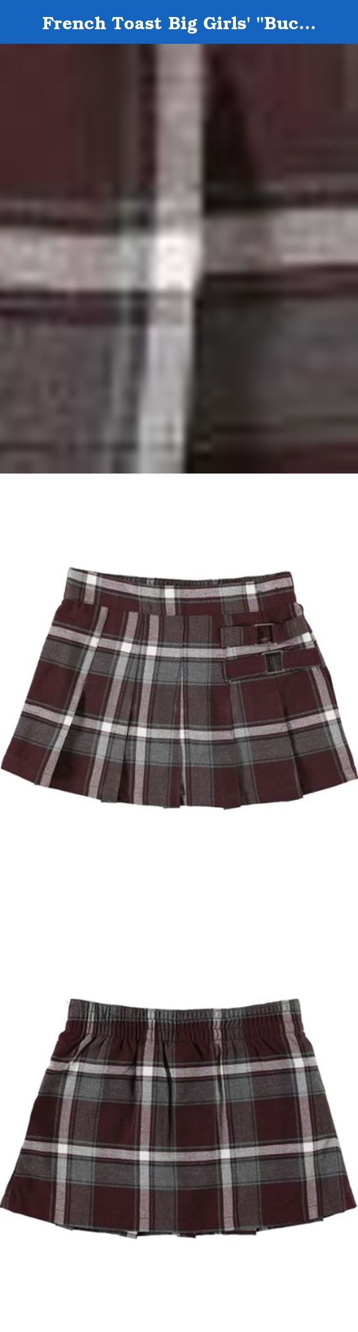 """French Toast Big Girls' """"Buckled"""" Plaid Scooter Skirt - burgundy/gray/white. This plaid scooter by French Toast is perfect for cheerleaders and active girls. Shorts underneath the skirt provide modesty and comfort during sport. Pleated front and flat back. 100% Polyester Imported Machine Wash... Holiday."""