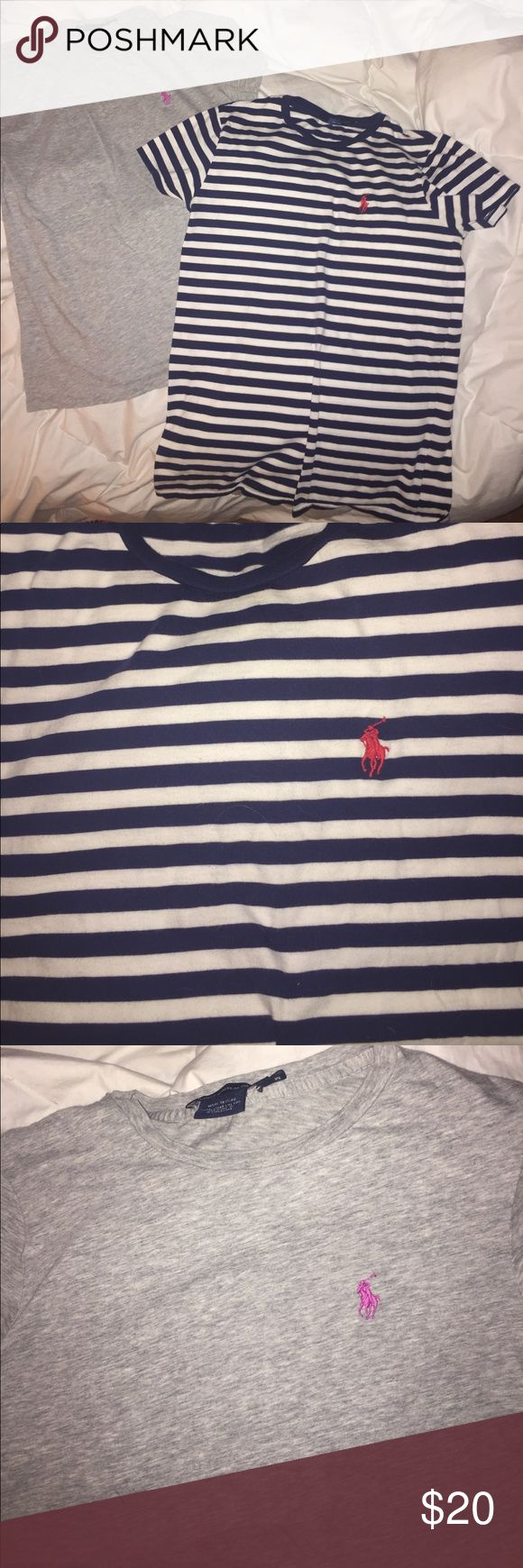 2 ladies Polo T's. 2 ladies Medium. Polo Sport by Ralph Lauren fitted T's. Being sold together to save YOU $! Like New condition! 1-light Heather grey with Pink Polo horse. 2-Navy & White horizontal stripes with Red Polo horse (very nautical looking) both Tops have a round neck line. Great look to dress up or dress down! Price reflects both Tops shown in pictures! Polo by Ralph Lauren Tops Tees - Short Sleeve