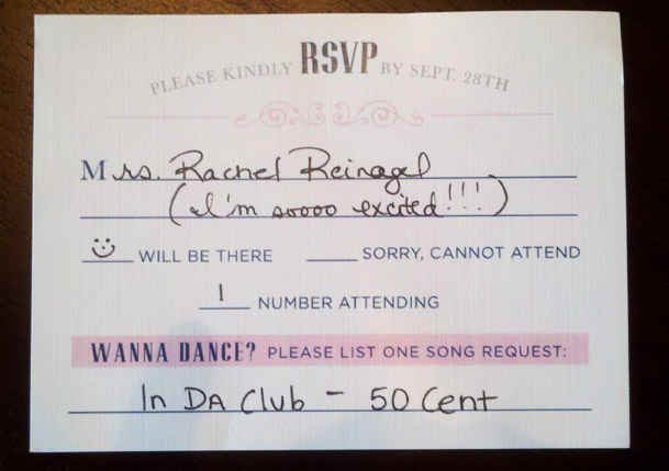 Add a line for a DJ song request on your RSVP cards.