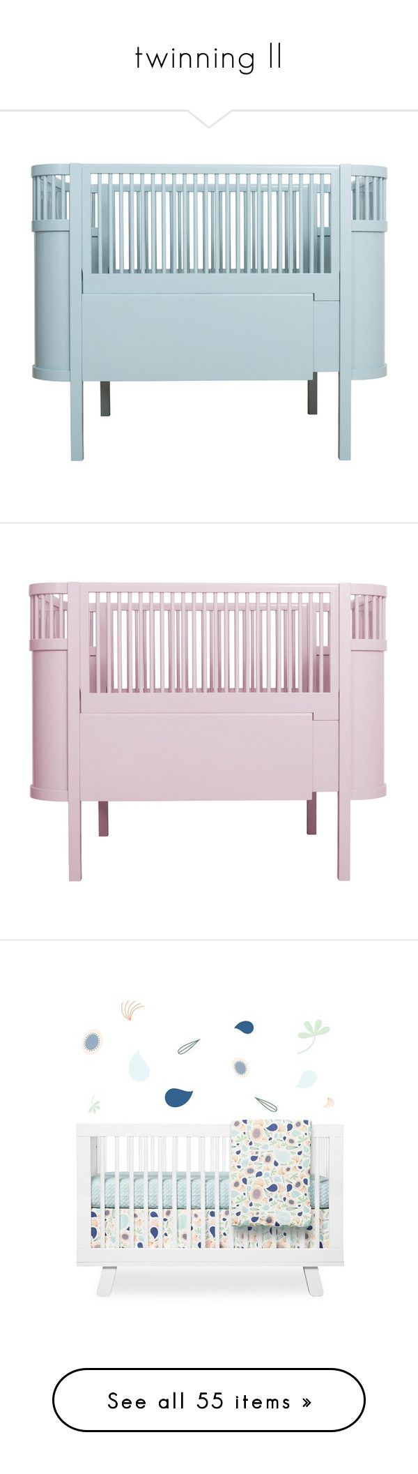 """""""twinning II"""" by crazyanddaisy on Polyvore featuring home, children's room, children's furniture, nursery furniture, blue, pink, children's bedding, baby bedding, rocking chair and white"""