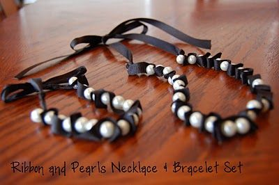ribbon and pearl necklace-bracelet - DIY tutorial included