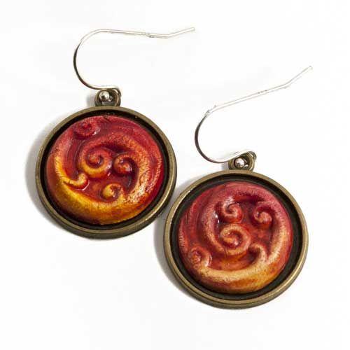 Ceramic Curled Red Koru Earrings by Craig Fletcher