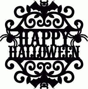 Silhouette Design Store - View Design #68818: vintage ornate swirl happy halloween label